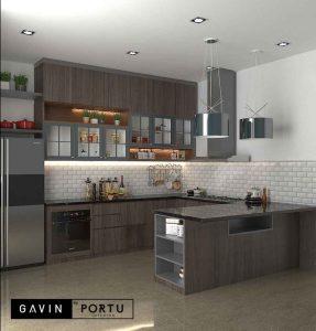 buat kitchen set dapur kering minimalis di Larangan id3695