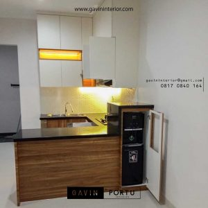 contoh model kitchen set modern dengan minibar dan kabinet dispenser id3551