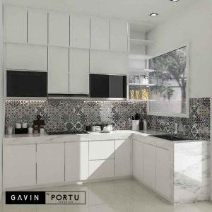 design lemari dapur minimalis modern letter L id3708