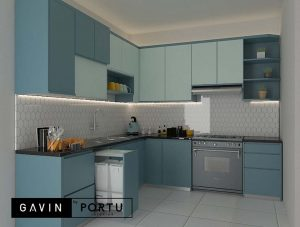 gambar kitchen set biru muda design minimalis di Gavin by Portu id3679