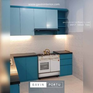 gambar kitchen set biru muda finishing duco Gavin by Portu id3679