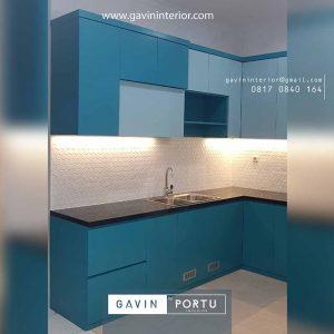 gambar kitchen set biru muda minimalis letter l id3679