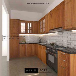 gambar kitchen set klasik model letter L warna natural di Jagakarsa id3851