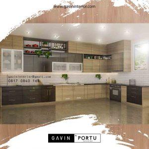 pembuatan kitchen set murah letter L dengan meja island id3706