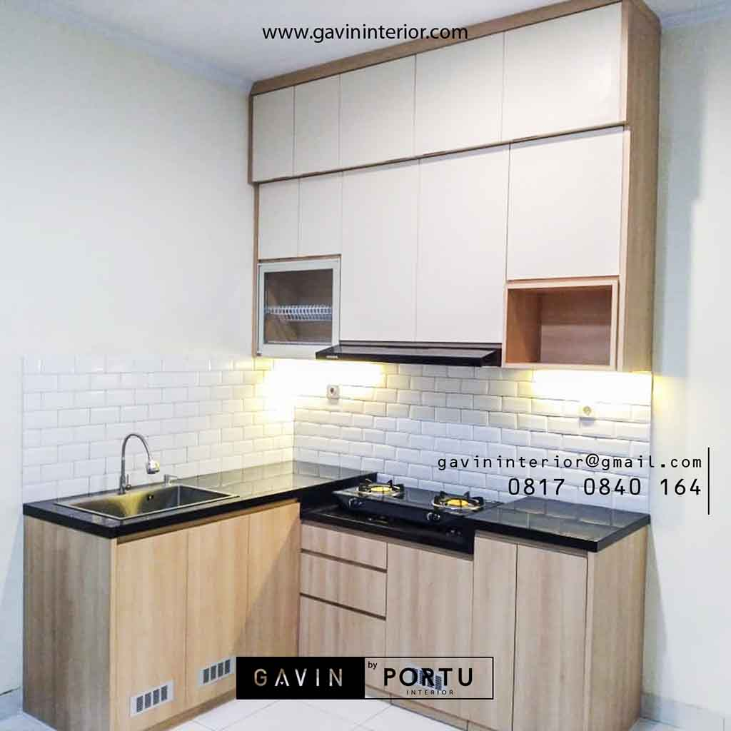 Contoh Kitchen Set Murah Minimalis Warna Coklat Kayu Di Cisauk