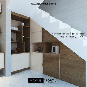 Lemari bawah tangga model minimalis