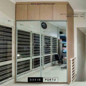 Gambar lemari pakaian kombinasi finishing HPL & kaca cermin id3547
