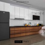 Kitchen set full plafon kombinasi warna motif kayu dan putih id3428