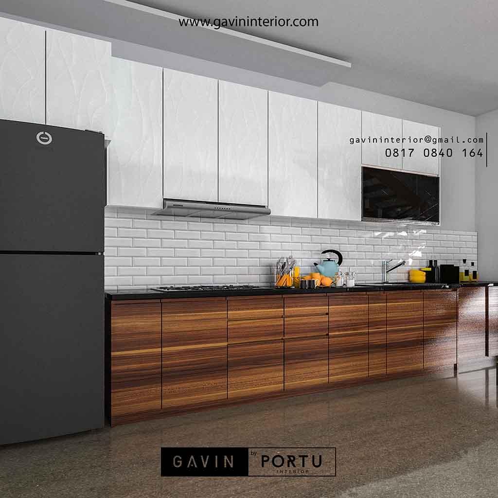 Kitchen set full plafon kombinasi warna motif kayu dan ...