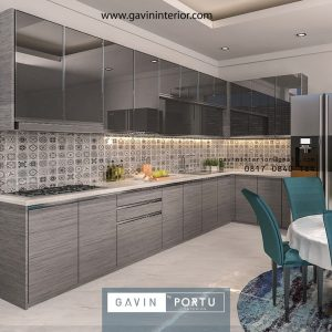 Model kitchen set minimalis kombinasi finishing HPL & kaca