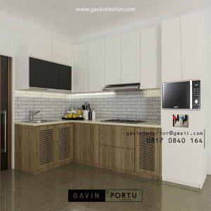 Bikin Kitchen Set Warna Putih Kombinasi Motif Kayu Perumahan Sarua Permai Pamulang Tangerang id4436PT