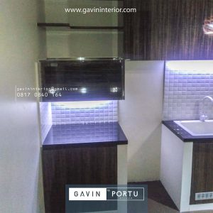 Custom Kitchen Set HPL Motif Kayu Klien Premier Estate Setu Cipayung Jakarta id4162p