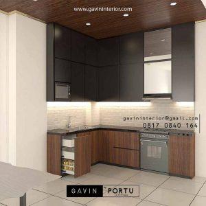 Bikin Kitchen Set Motif Kayu Kombinasi Warna Black Perumahan Modernland Cikokol Tangerang id4373pt