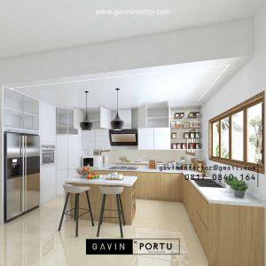 Bikin Kitchen Set Motif Kayu Kombinasi Warna Putih Perumahan Taman Bona Indah Lebak Bulus Cilandak Id4768PT