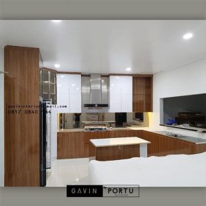 Jasa Bikin Kitchen Set Motif Kayu Kombinasi Warna Putih Perumahan Taman Bona Indah Lebak Bulus Cilandak Id4768PT