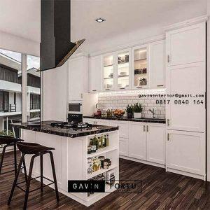 Lemari Dapur Semi Klasik Putih Kombinasi Meja Island ID4931P