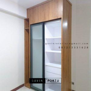 Cek Harga Lemari Pakaian Minimalis Motif Kayu Apartemen B Residence BSD City Pagedangan ID4918P