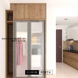 Harga Lemari Pakaian Minimalis Motif Kayu Apartemen B Residence BSD City Pagedangan ID4918P