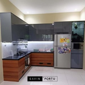 Jual Kitchen Set Minimalis Motif Kayu & Grey Kalibata Timur Residence Pancoran Jakarta Selatan Id4703