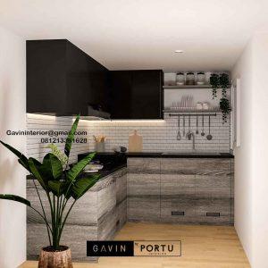 Harga Kitchen Set Murah Motif Kayu & Black Komplek Agraria Kebayoran Lama Jakarta ID5044