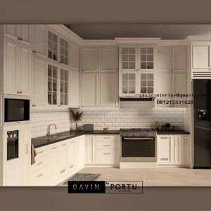 Design Kitchen Set Semi Klasik Putih Kampung Parung Cikasungka Solear Tangerang ID4991P
