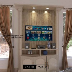 Harga Backdrop TV Semi Klasik Coklat Komplek Graha Alam Indah Kramat Jati Jakarta ID4954P