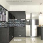 Jasa Kitchen Set Motif Kayu Black Kompleks Elysian Residence Pasar Minggu ID4852P