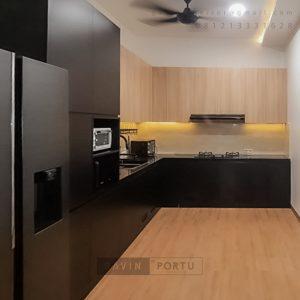 Kitchen Set Hpl Motif Kayu & Black Perumahan Sunrise Garden Kebon Jeruk Jakarta Barat ID5155P