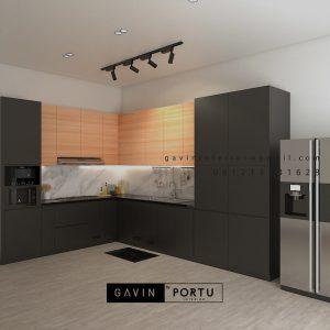 Kitchen Set Hpl Motif Kayu & Black Perumahan Sunrise Garden Kebon Jeruk Jakarta ID5155P