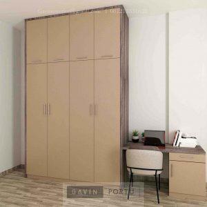 Lemari Pakaian Minimalis Motif Kayu & Beige Cirendeu Raya Ciputat Timur ID5156